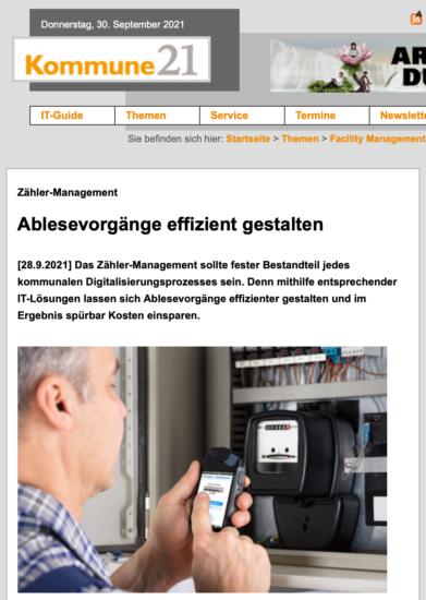 """Presseschau: Fachartikel zum modernen Zählermanagement in """"Kommune21 9/2021"""""""