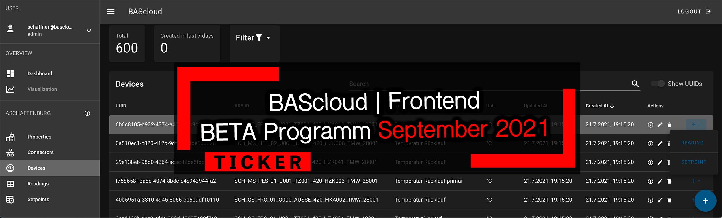Die BAScloud bekommt ein Gesicht – Erstes Release des neuen Frontends in Q3/2021